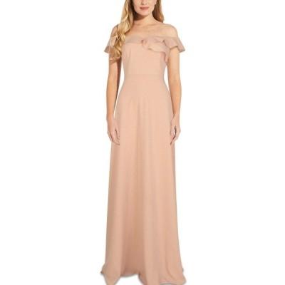 アドリアナ パペル ワンピース トップス レディース Ruffled Off-The-Shoulder Gown Blush