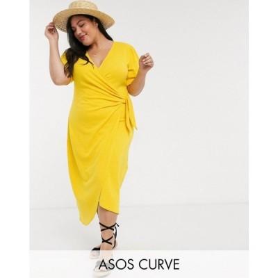 エイソス ASOS Curve レディース ワンピース サンドレス ミドル丈 ASOS DESIGN Curve wrap midi sundress with knot front in yellow イエロー