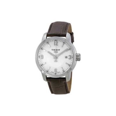 腕時計 ティソット メンズ Tissot PRC 200 White Dial Brown Leather Men's Watch T0554101601701
