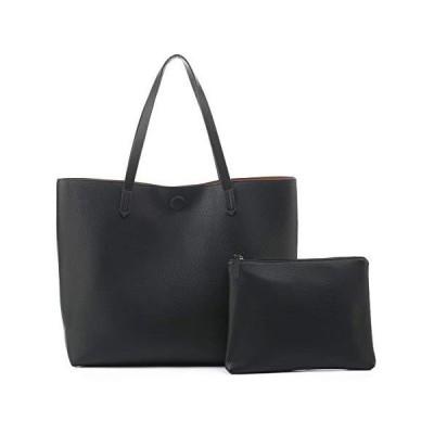 EMPERIA Bracelyn Premium Faux Vegan Leather Contrast Lining Tote Shoulder Bag Handbag 2 PCS SET for Women BLACK【並行輸入品】