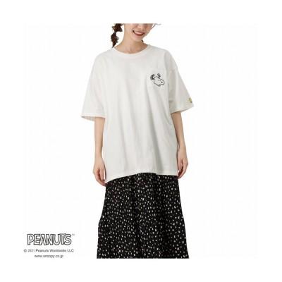 (MAC HOUSE(women)/マックハウス レディース)PEANUTS ポケット刺繍ワイドTシャツ 335152303/レディース ホワイト