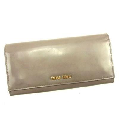 くらしの応援クーポン対象 ミュウミュウ Miu Miu 財布 長財布 ロゴ グレー ゴールド レディース メンズ 中古 ブランド