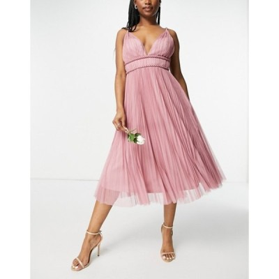 エイソス レディース ワンピース トップス ASOS DESIGN belted pleated tulle cami midi dress in rose