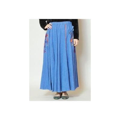 【チャイハネ】花刺繍コーデュロイロングスカート ブルー