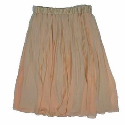 【中古】未使用品 スーナウーナ Sunauna プリーツ スカート ギャザー シフォン サイズM ピンク ◎9 レディース