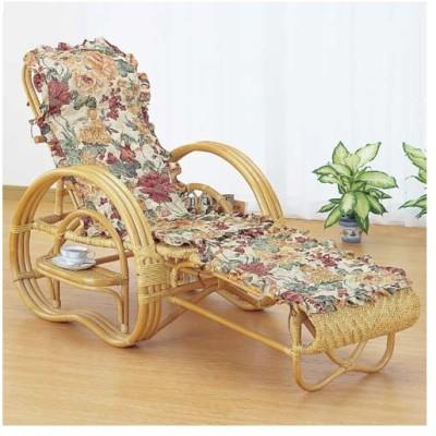 籐三ツ折寝椅子 ファブリックカバー付 [A-200M] ラタン 全籐総アジロ編みタイプのリクライニングチェア