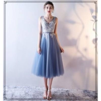 韓国 ファッション レディース パーティードレス ワンピース ミモレ丈 Vネック チュール ノースリーブ エレガント お呼ばれ 結婚式 二次