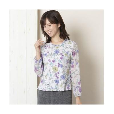 LOBJIE/ロブジェ [アンサンブル対応] 繊細京都プリントの花柄カットソー ピンク L