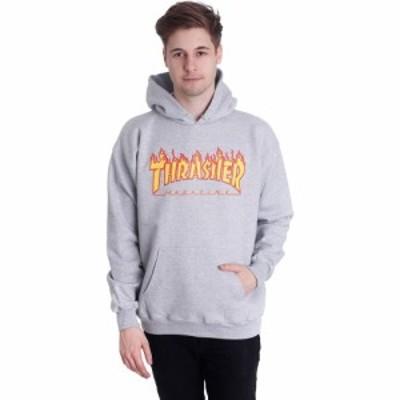 スラッシャー Thrasher メンズ パーカー トップス - Flame Greymottled - Hoodie grey