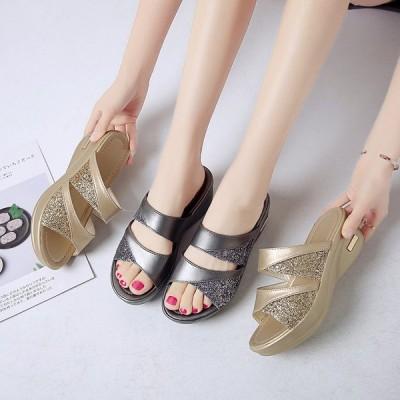 サンダル レディース カジュアル シューズ 靴 スリッパ 厚底 ウェッジソール 履きやすい コンフォートサンダル オフィス 美脚  痛くない 歩きやすい