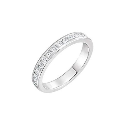 Solid 14k White Gold 2mm Square 7/8 Cttw Diamond Channel Set Ring Band (.87