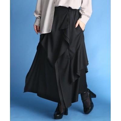 【オシャレウォーカー】 『kOhAKUモードデザイン変形ロングスカート』 レディース ブラック 2(LL~3L) osharewalker