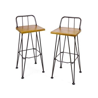 Christopher Knight Home Denali Outdoor Industrial Acacia Wood Barstools with Finished Iron Frame, 2-Pcs Set, Teak Finish / Rustic Metal【