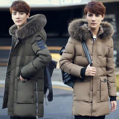 メンズコート お兄系 大きいサイズ ダウンジャケット メンズ 無地 ロングコート フード付き 防寒 お出かけ 旅行 ダウンコート おしゃれ 人気 アウター中綿コート