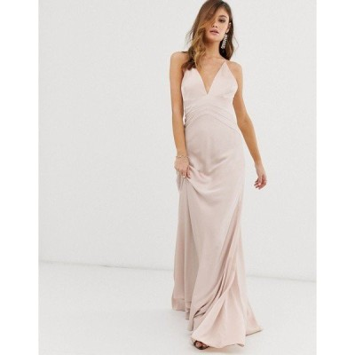 エイソス レディース ワンピース トップス ASOS EDITION satin paneled cami maxi dress Blush