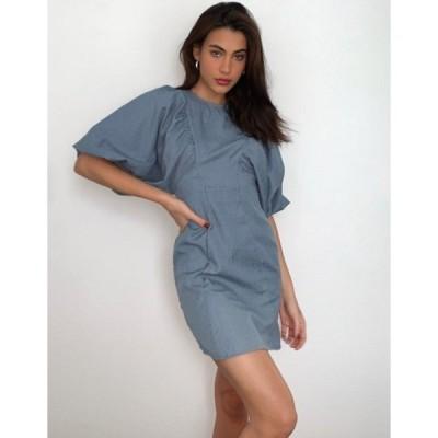 エイソス レディース ワンピース トップス ASOS DESIGN textured mini dress with puff sleeves in blue
