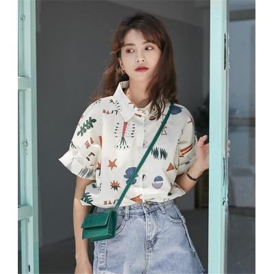 💛高レビュー💛可愛い      小さい新鮮な 短いスタイル 百掛け女の子 シャツ 女性 夏 学生 新しい 韓国 レトロ 半袖 ゆったりする カジュアル  女の子ファッション