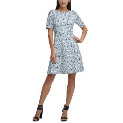 ダナ キャラン ニューヨーク レディース ワンピース トップス Puff-Sleeve Fit & Flare Dress