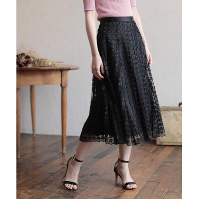 ANAYI/アナイ フラワー刺繍フレアスカート ブラック5 38