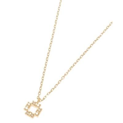 【ココシュニック】 ダイヤモンド ジオメスクエア ネックレス レディース イエロー ゴールド 40 COCOSHNIK