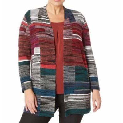 NIC+ZOE ニックゾー ファッション トップス NIC+ZOE NEW Red Womens Size Medium PM Petite Cardigan Striped Sweater