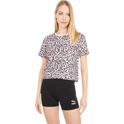プーマ PUMA レディース Tシャツ ロゴTシャツ トップス Classics All Over Print Logo Tee Peachskin