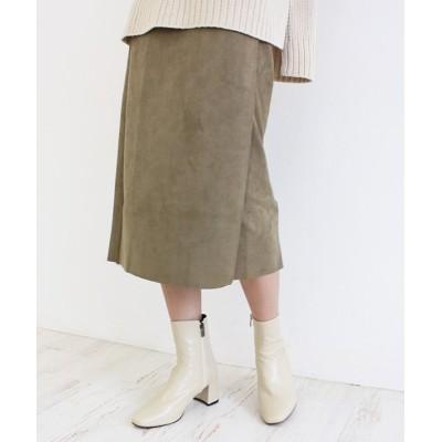 【モードローブ】 スウェードボタンスカート タイトスカート スウェード ピンク ベージュ カーキ キャメル Sサイズ Mサイズ Lサイズシンプル 大人 可愛い ママ キレイ レディース カーキ Sサイズ MODE ROBE
