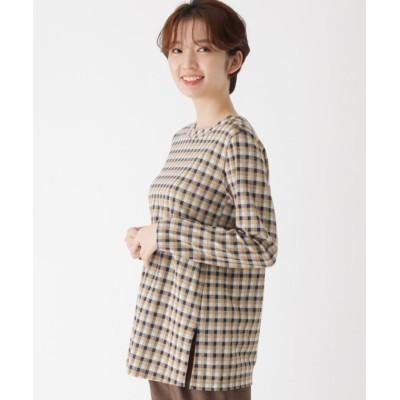【エッシュ】 ジャガードチェック裾スリットプルオーバー レディース ベージュ 40(M/ミセス) esche