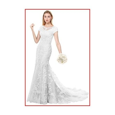 【新品】MILANO BRIDE Modest Wedding Dress for Bride Short Sleeves Sheath Floral Lace-10-Pure White【並行輸入品】