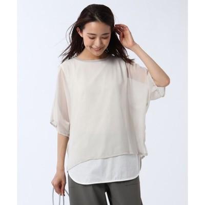 tシャツ Tシャツ 【洗える】シアーレイヤードプルオーバー