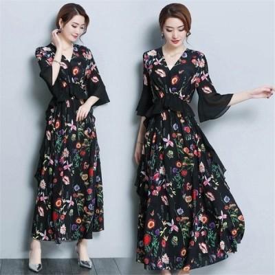 40代春夏きれいめマキシ丈ワンピース花柄シフォン大きいサイズ七分袖ベルスリーブ黒Vネック結婚式ドレス大人ロング