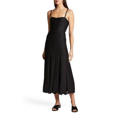 ガブリエラ ハースト レディース ワンピース トップス Godard Pleated Mesh-Panel Midi Dress