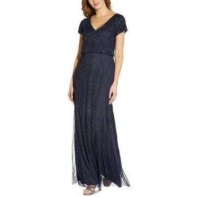 アドリアナ パペル ワンピース トップス レディース Embellished Blouson Gown Navy Blue