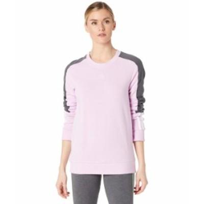 アディダス レディース パーカー・スウェット アウター Color-Block Linear Sweatshirt Clear Lilac/Whi
