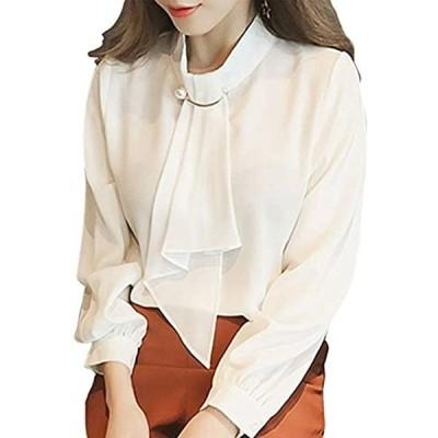マオカラーシャツ ボウタイブラウス黒 ボタンダウンポロシャツ ダンガリーシャツ オフィスユニフォーム ビジネスしゃつ(ホワイト, XL)