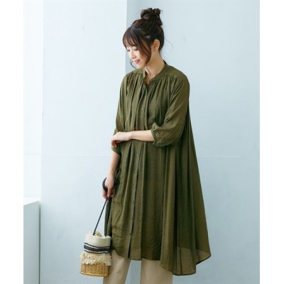 スラブ素材前開き7分袖ギャザーワンピース (ワンピース)Dress