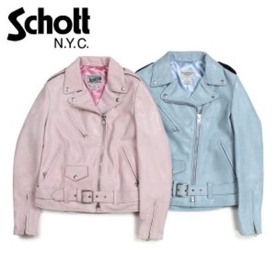 ショット Schott ジャケット フライトジャケット レディース WOMEN HEAVY METAL GIRL BOYFRIEND CUT MOTO JACKET ブルー ピンク 633W