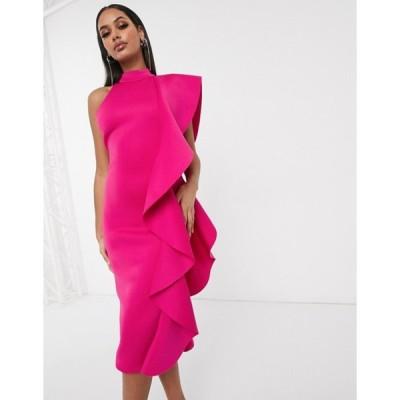 ラビッシュアリス レディース ワンピース トップス Lavish Alice high neck extreme ruffle midi pencil dress in pink