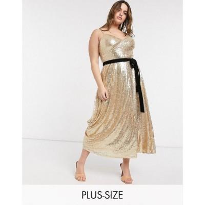 フォーエバーユニーク Forever U Curve レディース ワンピース キャミワンピ sequin cami skater midi dress with contrast bow in gold ゴールド