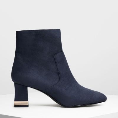 【再入荷】メタリックアクセント ヒールブーツ / Metallic Accent Heel Boots (Dark Blue)
