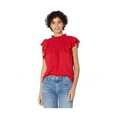 1.STATE ワンステート レディース 女性用 ファッション ブラウス Wide Smocked Ruffle Sleeve Top - Vibrant Red