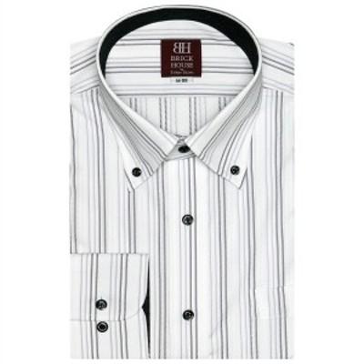 ブリックハウス(BRICKHOUSE)/形態安定 ノーアイロン 長袖ワイシャツ ボタンダウン 白×グレー系ストライプ