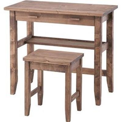 デスク&チェア2点セット 木製(天然木) 引き出し/棚付き 木目調 CFS-843