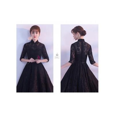 フォーマル パーティードレス ブラック 襟付き 透け感レース 袖あり ミモザ丈 上品 結婚式 二次会 お呼ばれドレス kh-0040