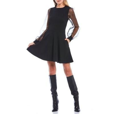 ミッドナイト ドール レディース ワンピース トップス Long Sheer Puff Sleeve Scuba Crepe Skater Dress