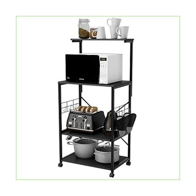 Bestier Kitchen Baker's Rack with Oven Mitts and 10 Side Hooks Utility Storage Shelf Microwave Stand Cart on Wheels, Kitchen Organizer Rack