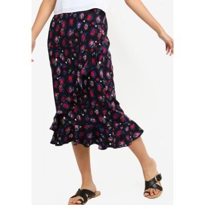 サムシングボロウド Something Borrowed レディース ひざ丈スカート スカート Overlap Ruffles Midi Skirt Navy/Blue/Pink