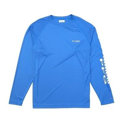 コロンビア メンズ シャツ トップス PFG Terminal Tackle Long-Sleeve Rashguard Tee Vivid Blue/Cool Grey Logo