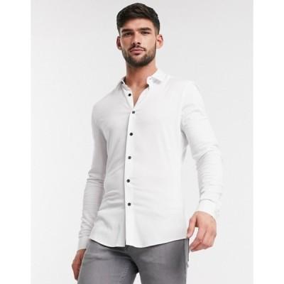 エイソス メンズ シャツ トップス ASOS DESIGN muscle viscose shirt in white