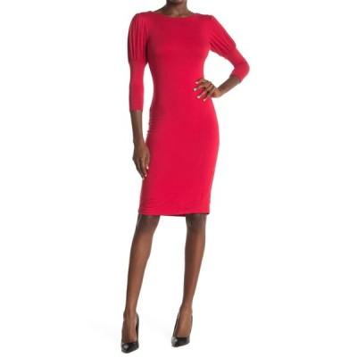 ベルベットトーチ レディース ワンピース トップス Puff Sleeve Round Neck Dress RED